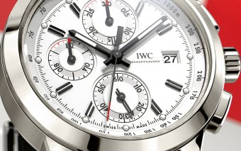 "HANDOUT – The Ingenieur Chronograph Edition ""W 125"" (Ref. IW380701) from IWC Schaffhausen features a case in titanium, silver-plated dial and striking black hands and appliques, together with a black calfskin strap. The watch takes up the theme of the Mercedes-Benz W 125 Silver Arrow, which was designed by Rudolf Uhlenhaut and dominated the competition as emphatically as the current version of the Mercedes Silver Arrow heads up motorsport's premier competition today. The timepiece is limited to 750 pieces. (PHOTOPRESS/IWC)"
