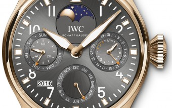 """1936 – A TRIBUTE TO THE 1ST IWC PILOT'S WATCH"" I N 1 8 - CARAT RED GOLD WITH BLUE  ALLIGATOR LEATHER STRAP Limited edition of 36 watches ∙ Mechanical movement ∙ Pellaton automatic winding ∙ IWC-manufactured 52610 calibre ∙ 7-day power reserve when fully wound ∙ Power reserve display ∙ Perpetual calendar with displays for the date, day, month, year in four digits and perpetual moon phase ∙ Small hacking seconds ∙ Glucydur® ** beryllium alloy indexless balance with high-precision adjustment screws on balance rim ∙ Breguet spring ∙ Rotor bearing in 18-carat red gold ∙ Screw-in crown ∙ Sapphire glass, convex, antireflective coating on both sides ∙ See-through sapphire-glass back ∙ Waterresistant 6 bar ∙ Case height 15.5 mm ∙ Diameter 46 mm ∙ * Exclusively available in Benelux and Scandinavia."