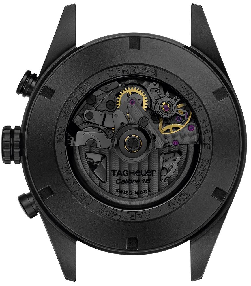 kastdeksel TAG Heuer Carrera Calibre 16 Day-Date Chronograph Black Titanium