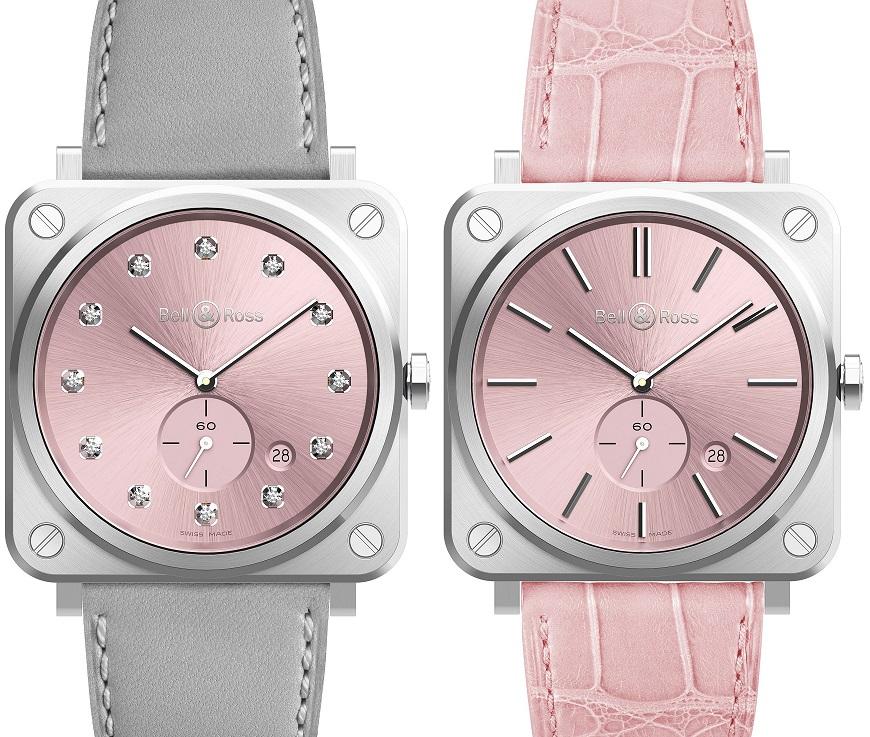 Bell & Ross Novarosa; grijze met diamanten indexen € 2.800, roze band met metalen indexen € 2.200