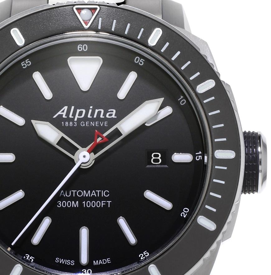 Alpina Seastrong 300 staal zwart wijzerplaat AL-525LBG4V6B detail
