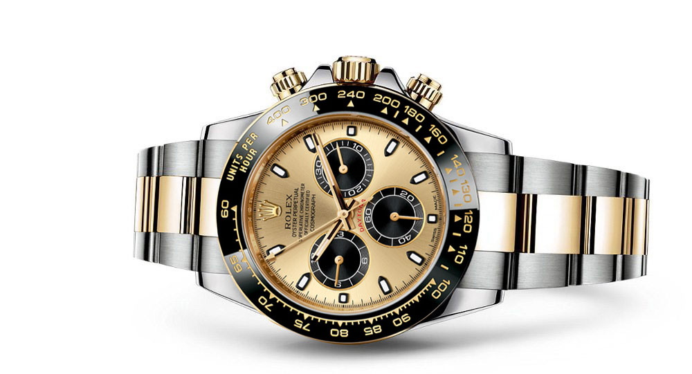 Daytona in staal/goud met keramische lunette en 'panda' dial
