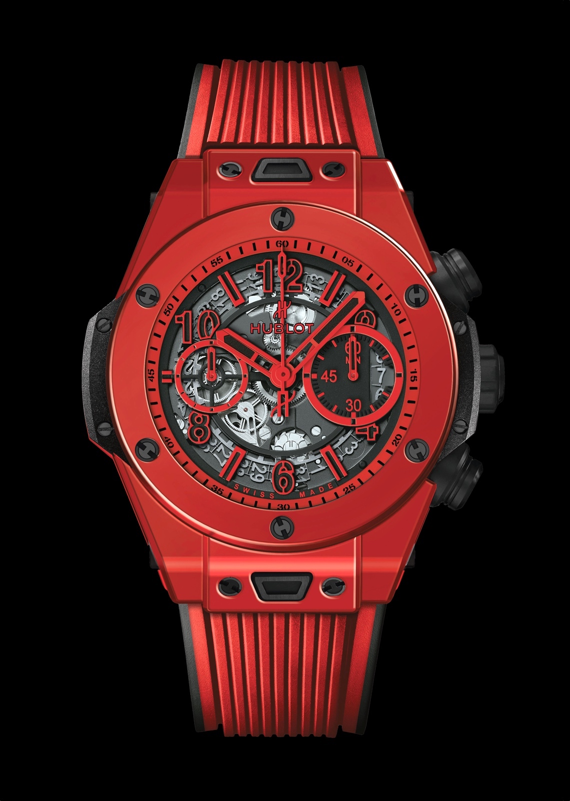 De 45,5 mm Hublot Big Bang Unico Red Magic is bepaald geen grauw muurbloempje