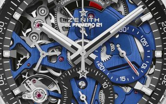 Close-up van de Zenith Defy El Primero 21 Blue