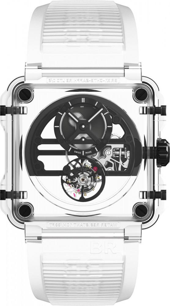 De zwarte variant van de transparante Bell & Ross BR-X1 Chronograph Sapphire Tourbillon