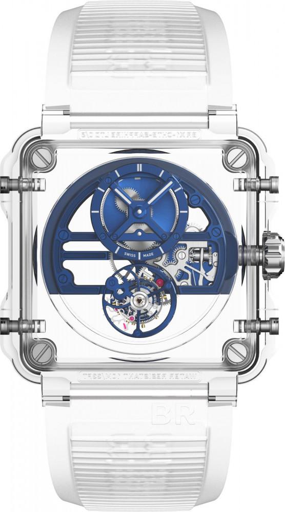 Het blauw van de Detail van de kastconstructie van de zwarte De zwarte variant van de transparante Bell & Ross BR-X1 Chronograph Sapphire Tourbillon verwijst naar historische uurwerkmakerij