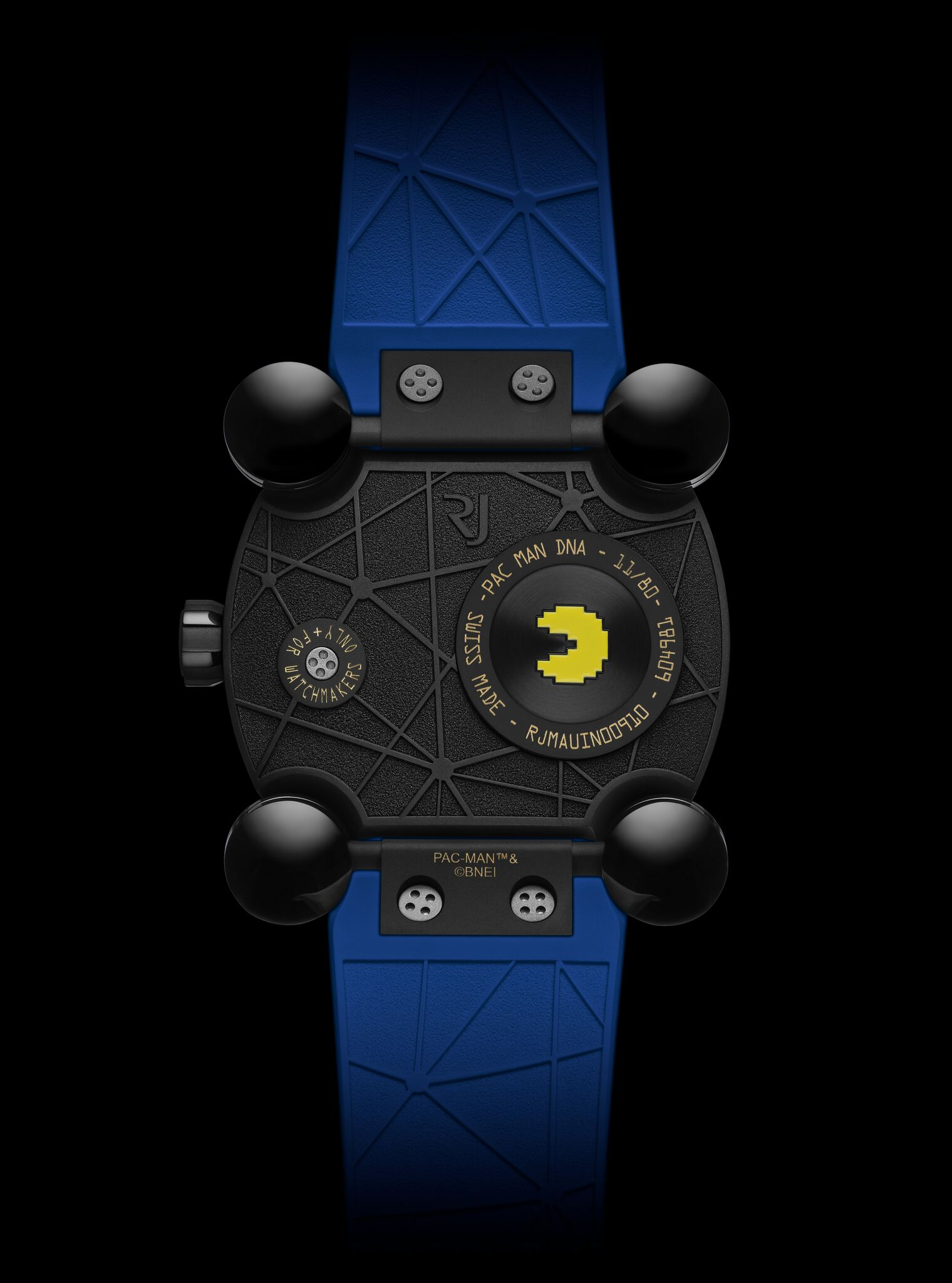 De achterkant van het derde Pac-Man horloge van RJ