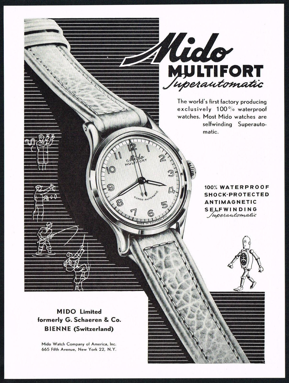 Vintage Mido advertentie