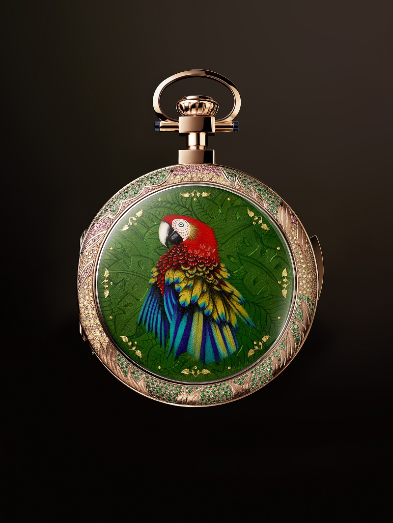 Parrot Repeater Pocket Watch met soldaten-ara