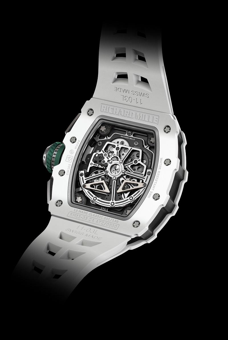 De RM 11-03 LMC is een automatische chronograaf met fly-back functie dankzij het automatische kaliber RMCA3