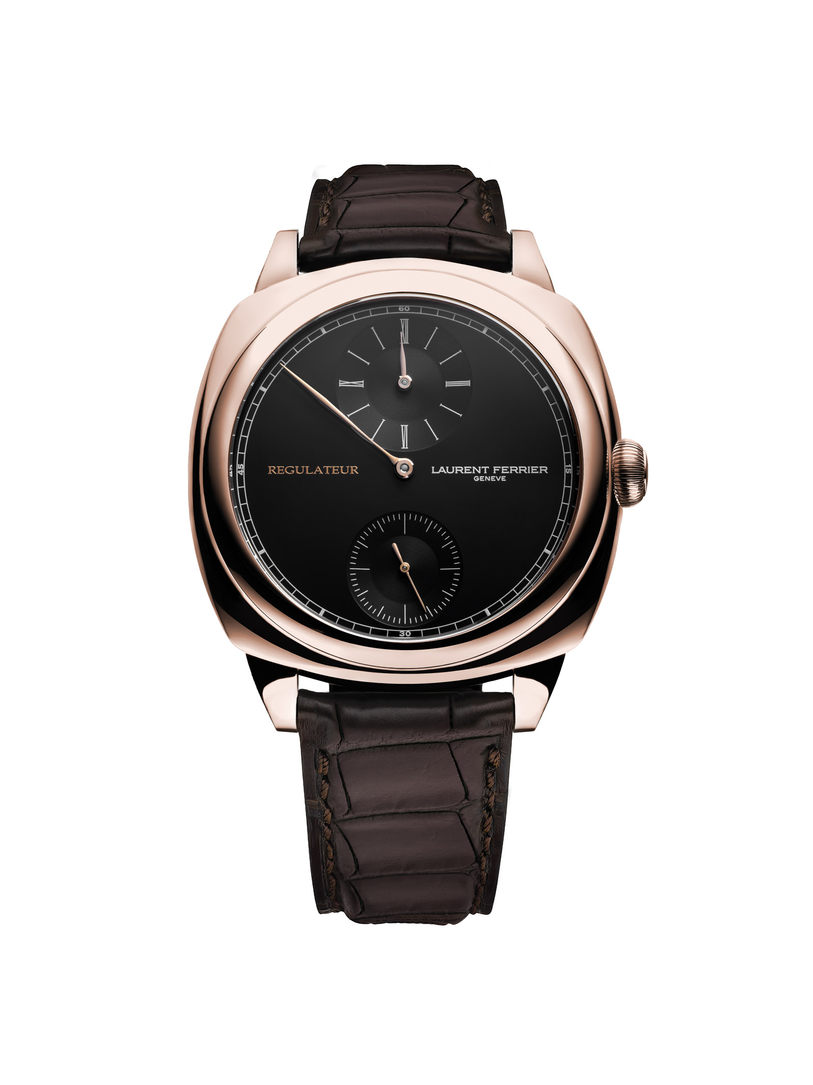 De elegante en zeer precieze Laurent Ferrier Galet Square Régulateur Black
