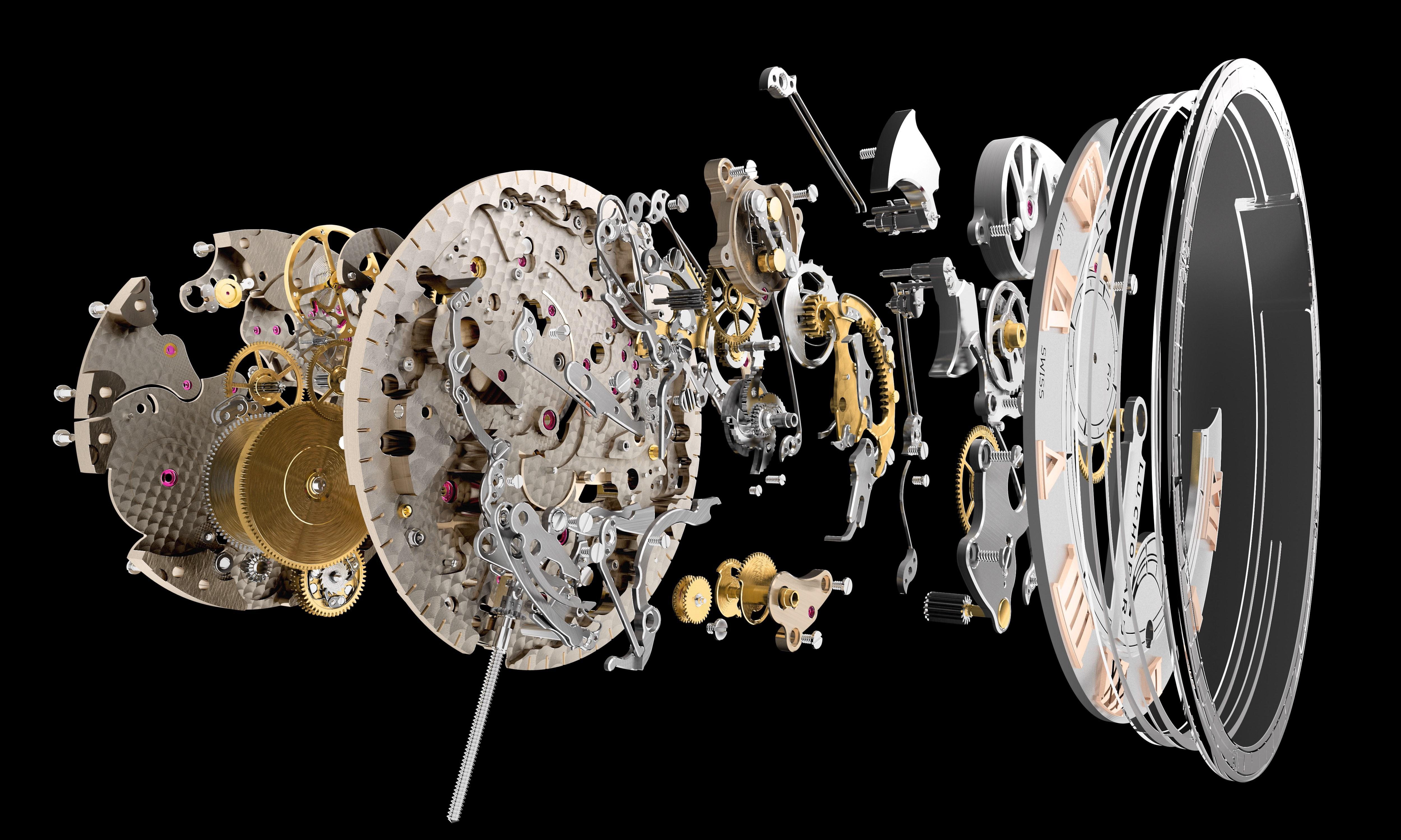 Caliber L.U.C 08.01-L met de saffieren gongs