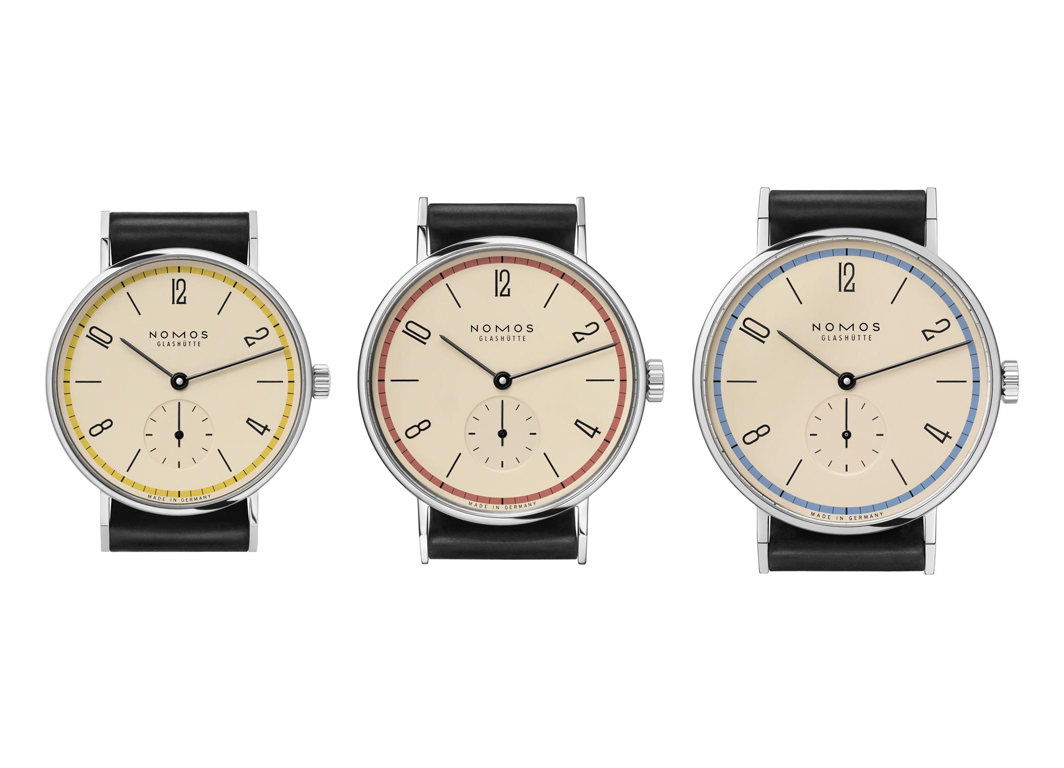 De drie Nomos Tangente Bauhaus modellen in 33, 35 en 38 mm