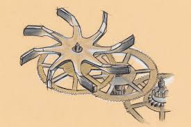 Louis Moinet Ultravox schets van een uurwerkonderdeel
