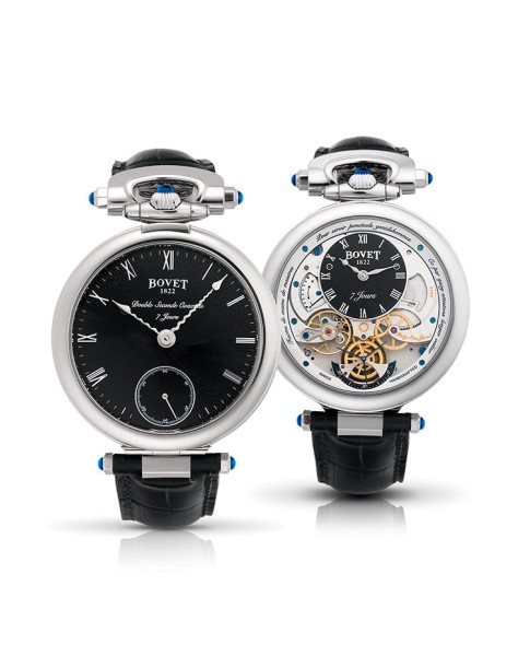 De Monsieur Bovet heeft twee wijzerplaten voor twee tijdzones en het horloge draait in de bandaanzet