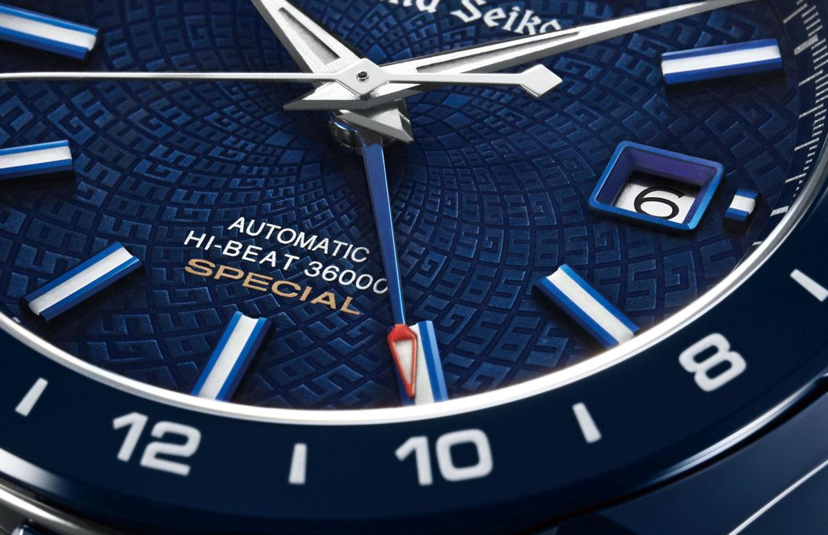 De bijzondere wijzerplaat van de Grand Seiko Blue Ceramic Hi-Beat GMT 36000 Limited Edition