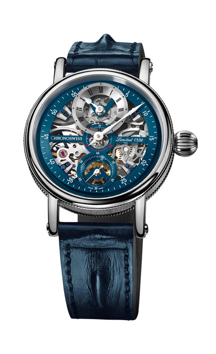 Flying Grand Regulator Skeleton in blauwe uitvoering