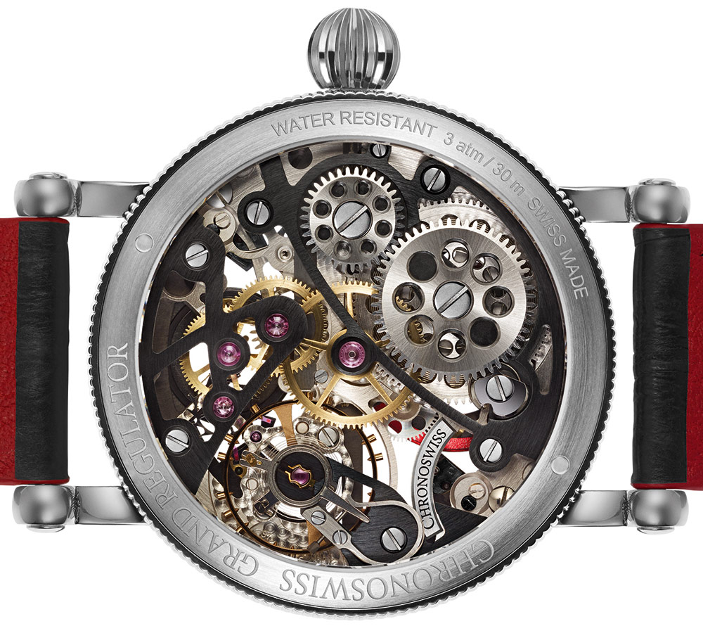 Ook de achterzijde van de Chronoswiss Flying Grand Regulator Skeleton is geskeletteerd