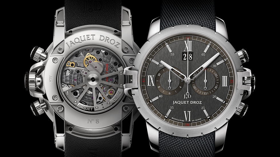 Jaquet Droz SW Chrono Steel in industrieel ogend grijs