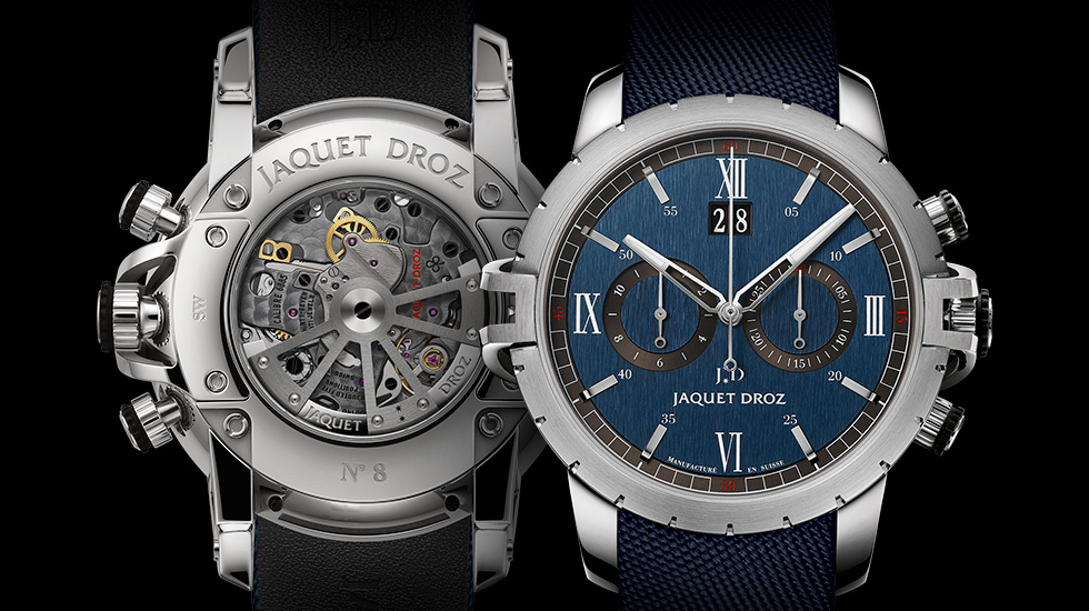 Jaquet Droz SW Chrono Steel in modieus blauw
