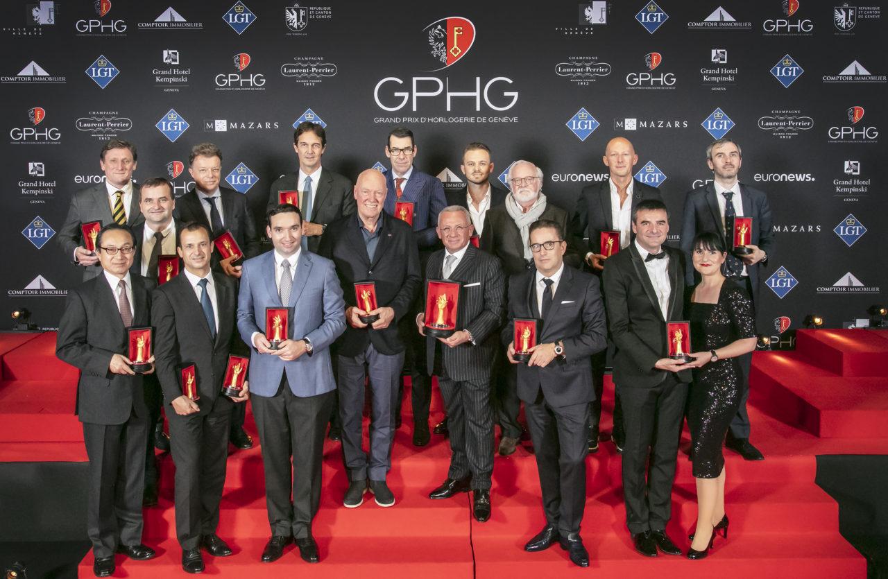 Jean-Claude Biver met om hem heen alle andere GPHG 2018 winnaars
