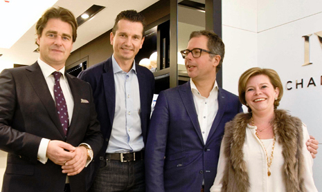 Managing Director IWC Benelux Robert Pennartz, IWC Friend of the Brand Richard Krajicek en ondernemersechtpaar Martijn en Cécile van Willegen