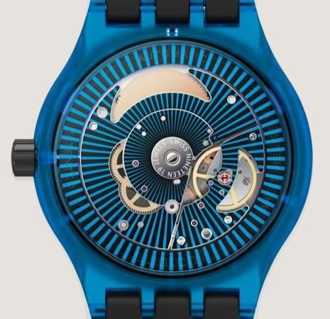 achterkant Swatch Sistem51 blauw