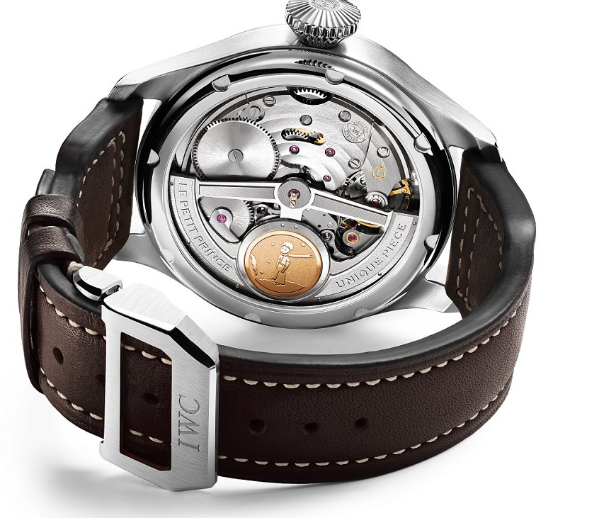 """HANDOUT - The back of the Big Pilot's Watch Perpetual Calendar Edition """"Le Petit Prince"""" (Ref. IW502801) with a platinum case shows the impressive IWC-manufactured 51613 calibre with Pellaton automatic winding and a 7-day power reserve, as well as an 18-carat gold medallion engraved with an image of the little prince. (PHOTOPRESS/IWC)"""
