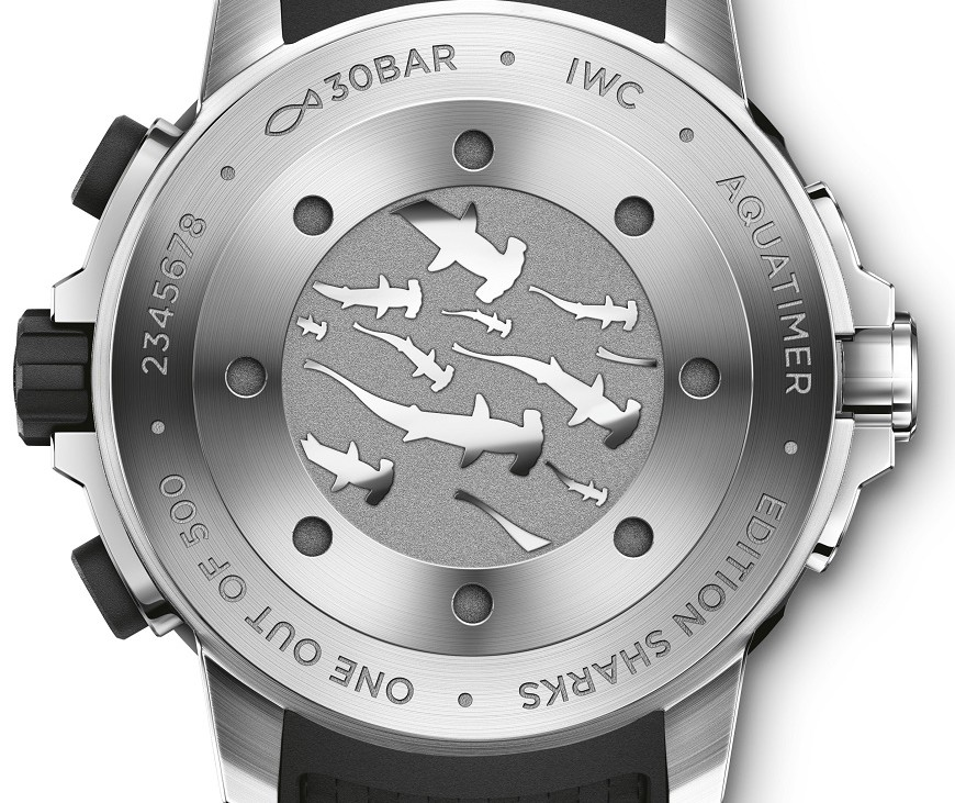 "The Aquatimer Chronograph Edition ""Sharks"" (Ref. IW379506) is limited to 500 watches. The engraving on the case back depicts a group of hammerhead sharks swimming. The distinctive grey dial was inspired by the colour of many sharks. Enclosed in a stainless-steel case, the timepiece is driven by an IWC-manufactured 89365 calibre. (PPR/IWC)"