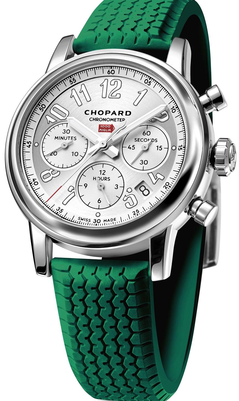 Mille Miglia Classic Chronograaf. Naast wit en zwart zijn er banden leverbaar in (Italiaans) rood en groen.