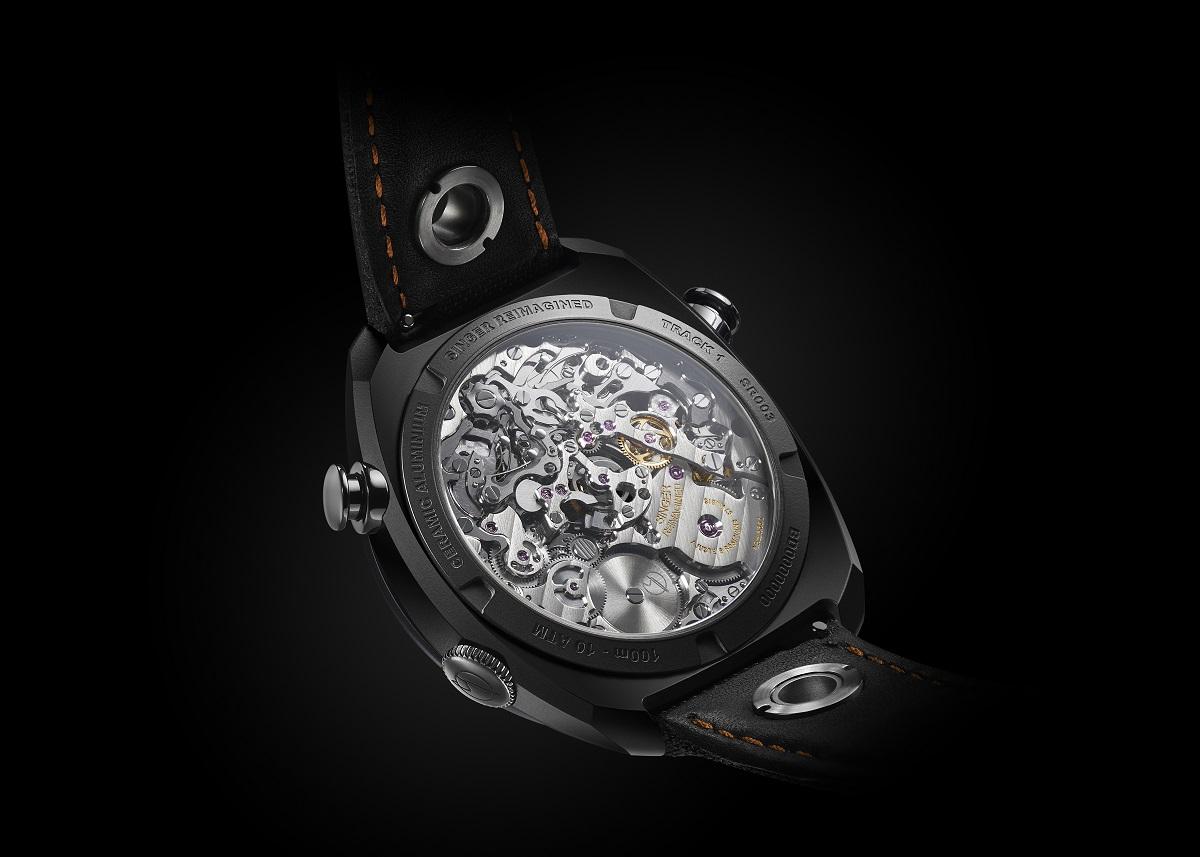 De uurwerkzijde van de Singer Reimagined Track1 Hong Kong Edition onthult de revolutionaire AgenGraphe