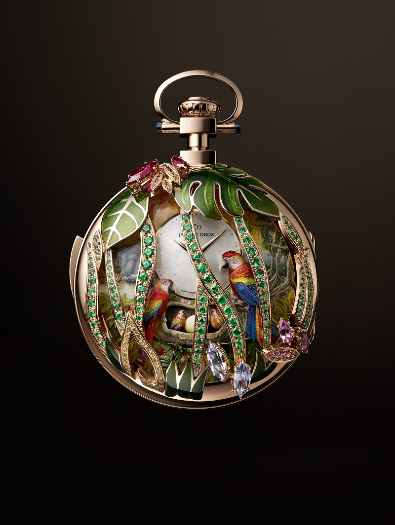 Parrot Repeater Pocket Watch met de papegaaienfamilie op het nest
