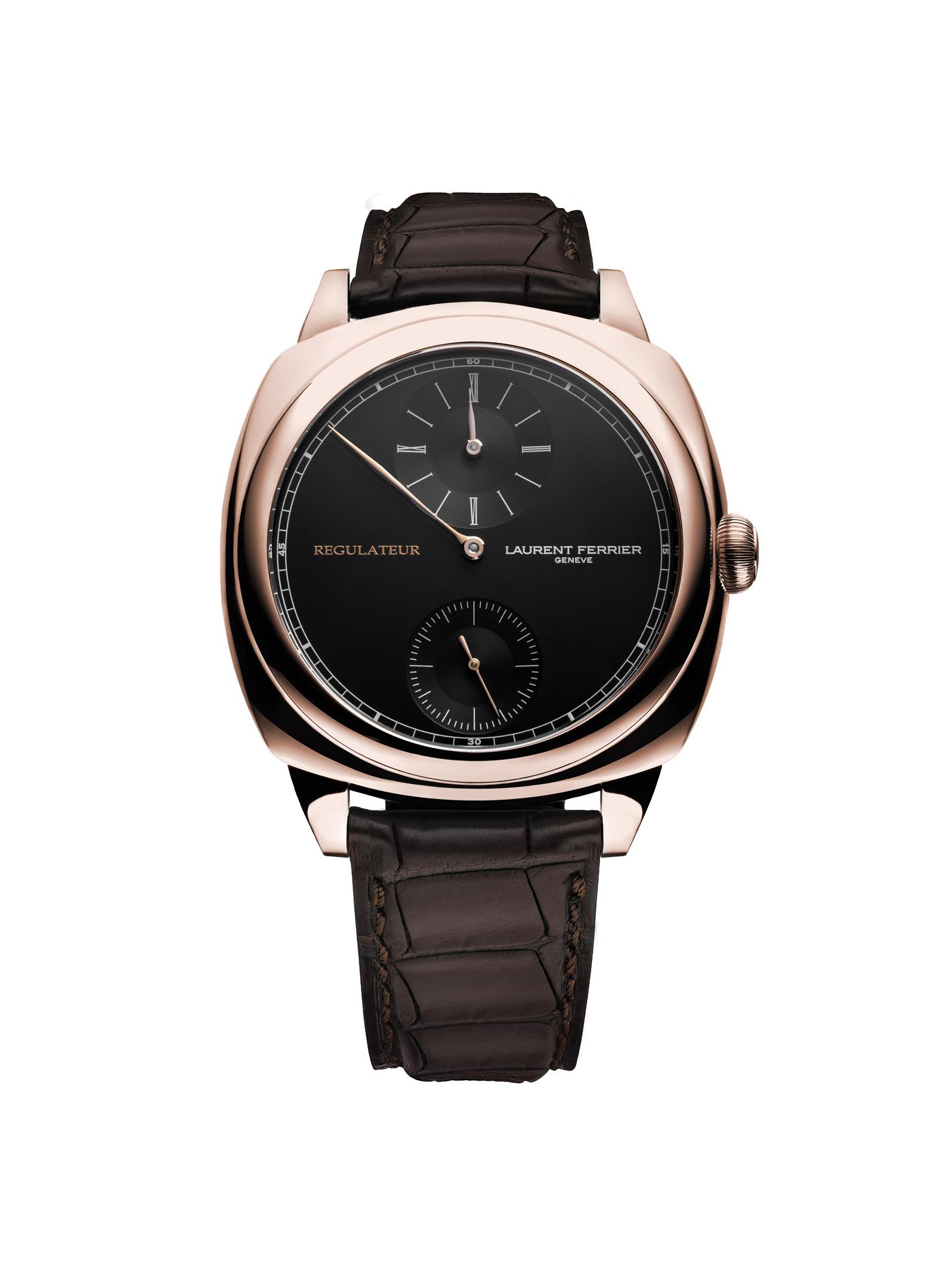 De elegante en zeer precieze Laurent Ferrier Galet Square Régulateur Black