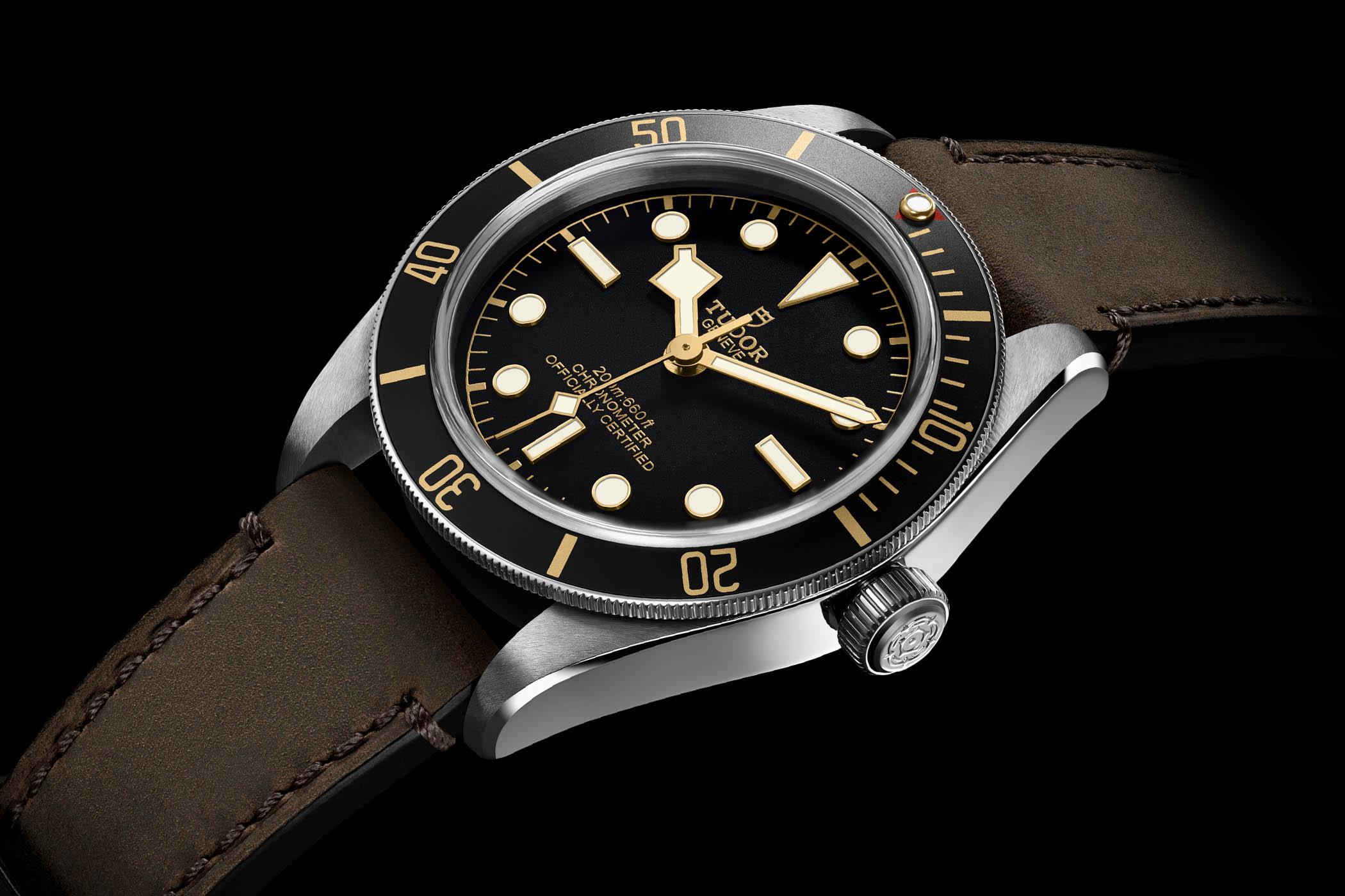 Tudor Heritage Black Bay Fifty-Eight 39 mm met leren band