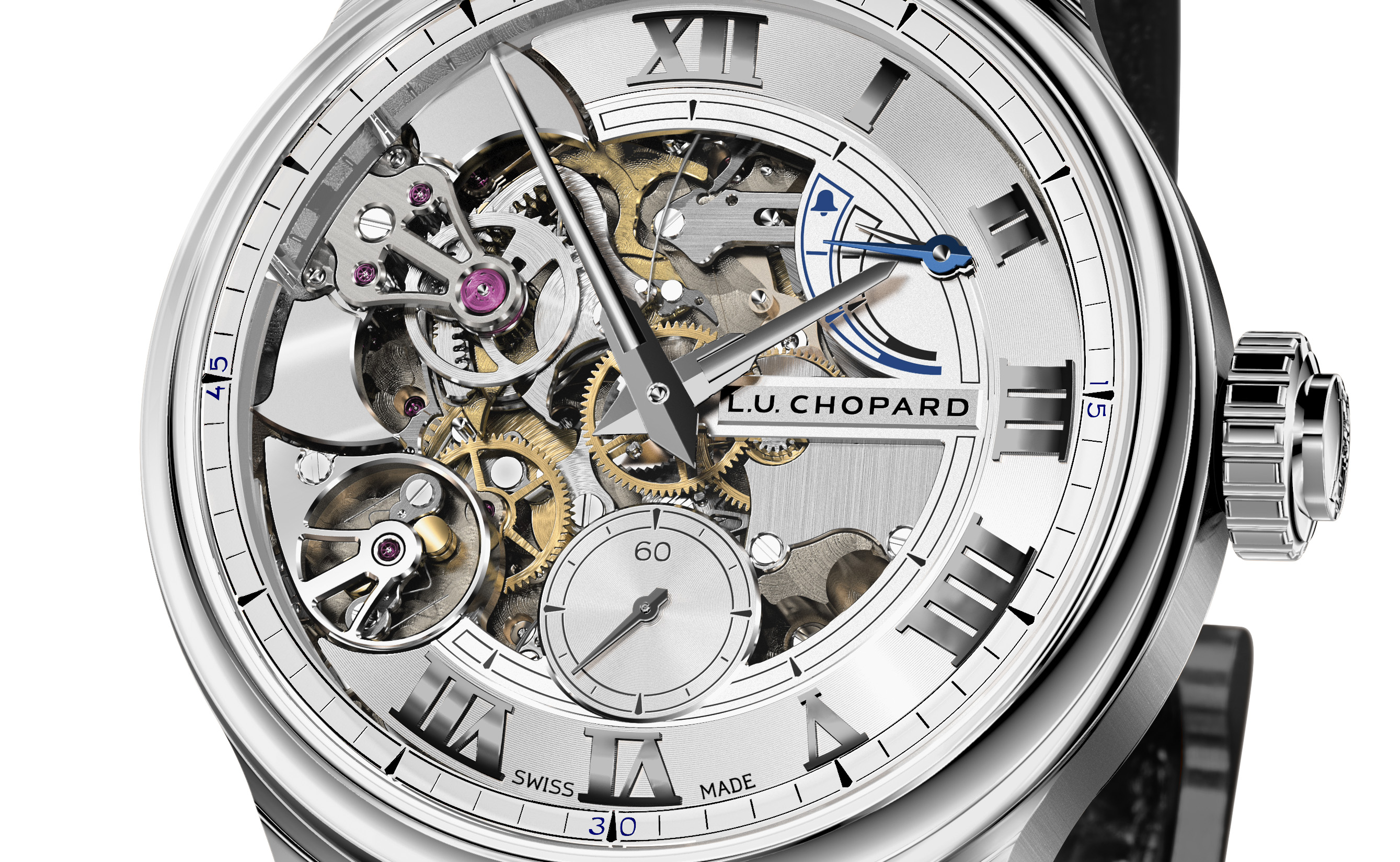 Close up van de Chopard L.U.C Full Strike in fairmined witgoud