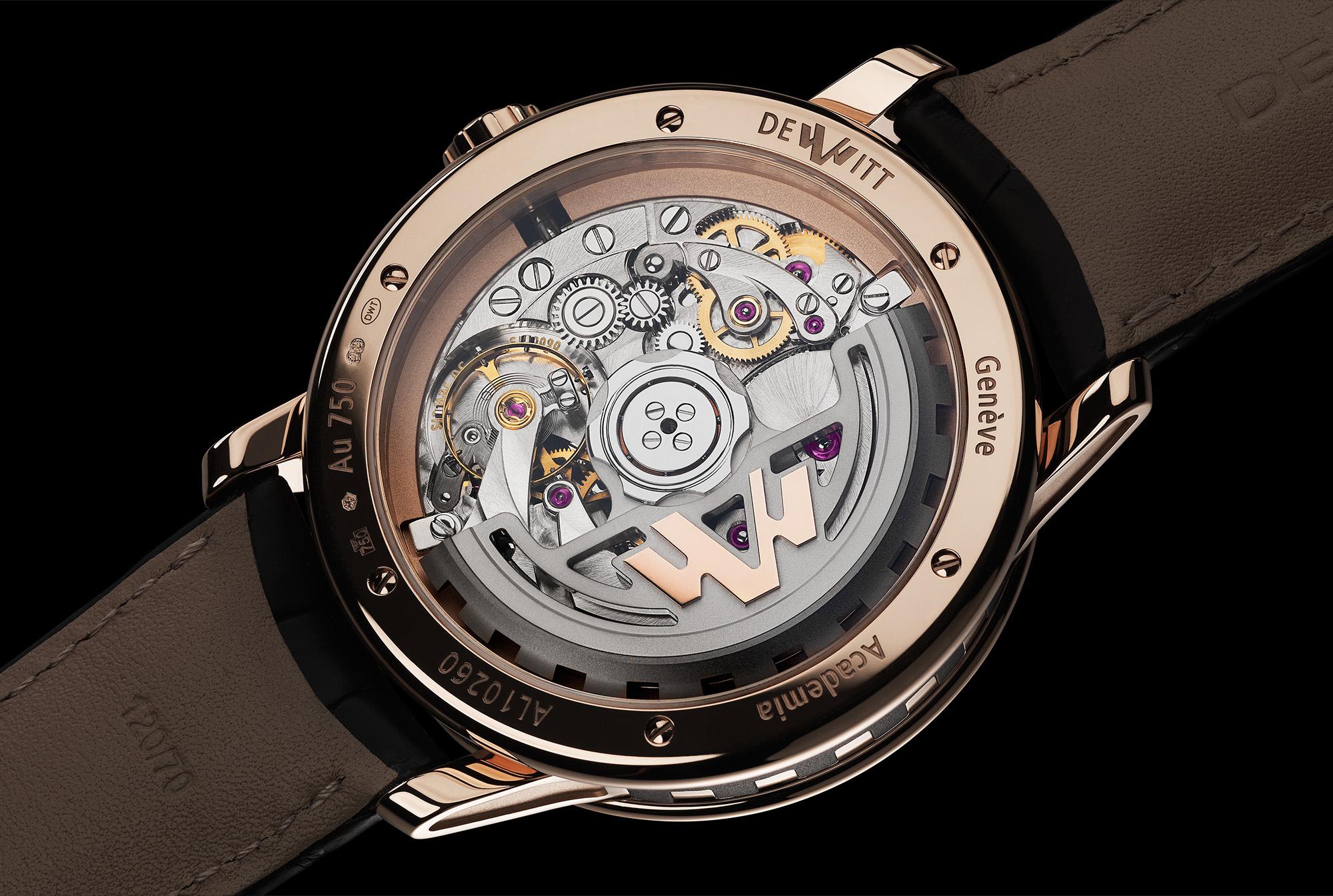De achterzijde van de DeWitt Academia Out of Time toont een fraai gestileerde rotor