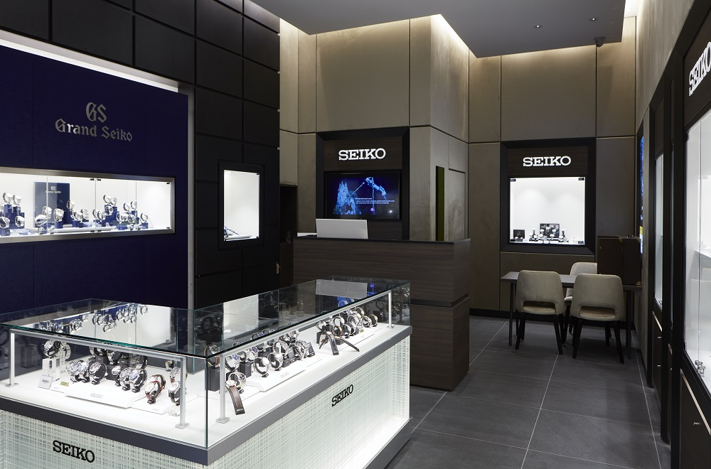 De Seiko- en de Grand Seiko-collectie in de nieuwe boutique is buitengewoon ruim
