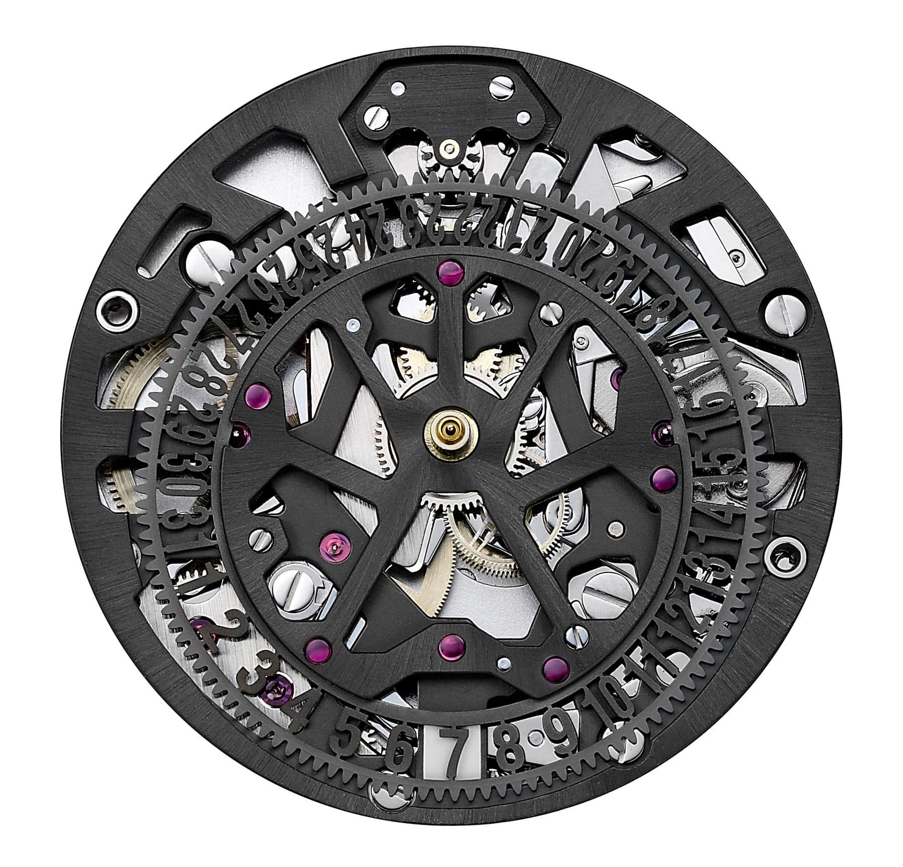 Het automatische chronograafkaliber HUB1155 doet dienst in de Amsterdamse Hublot