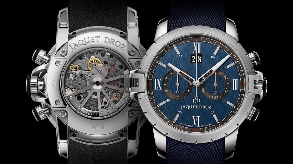Jaquet Droz SW Chrono Steel in modieus blauw