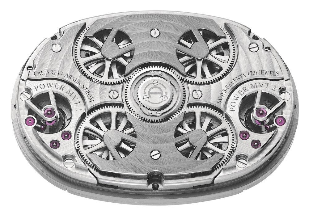 Symmetrische achterzijde van het uurwerk van de Masterpiece 1 Dual Time Resonance