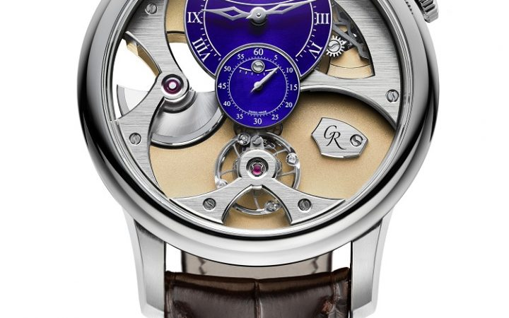 Vrij vooraanzicht op de schommelende balans van de Romain Gauthier Insight Micro-Rotor white gold limited edition