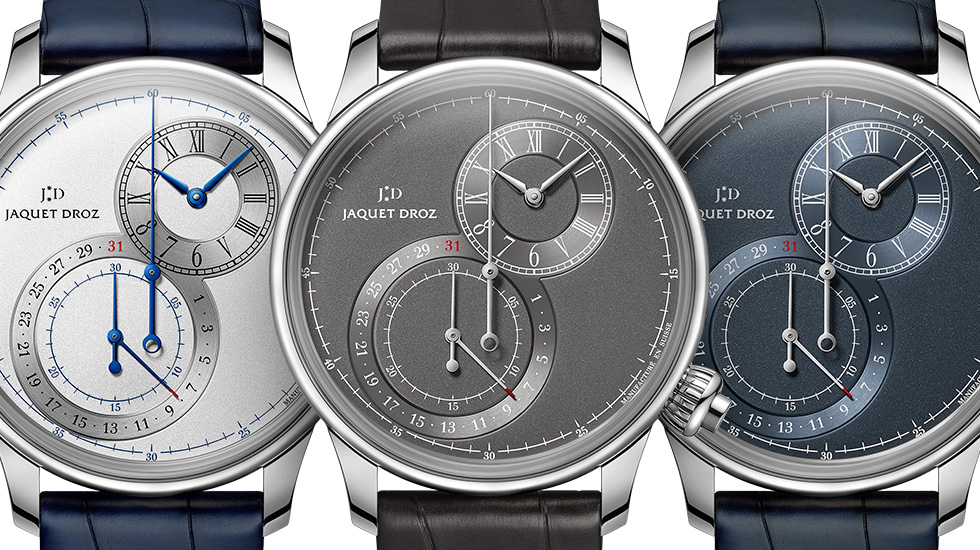 De stalen en off-centre Jaquet Droz Grande Seconde Chronograph